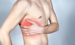 ont i bröstet på höger sida